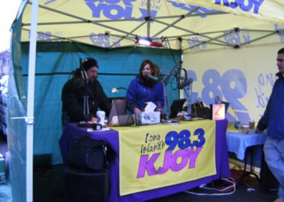 KJOY On Air Personalities Setting Up at Trees for Troops Event